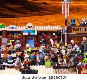 RUSSIAN, SAMARA - JANUARY 24, 2019. LEGO STAR WARS. Minifigures Bar Cantina Mos Eisley on Tatooine