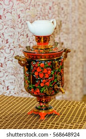Russian samovar with a teapot on the table