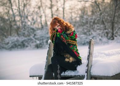 2b7729cc7aeb Russian Slavic Girl Scarf Costs Winter Stock Photo (Edit Now ...