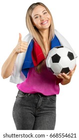 russian soccer fan isolated on white