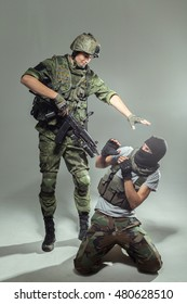Russian soldier fighting against a terrorist