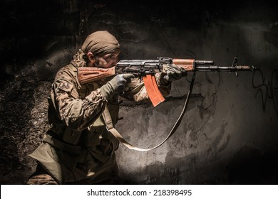 Russian soldier in urban area at night