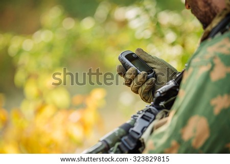 Russian Soldiers Holding Gps Hand Determines Stock Photo (Edit Now