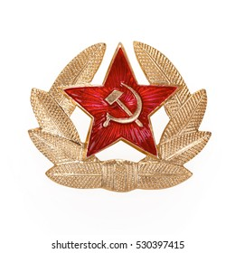 Russian Soviet red star badge, contains clipping path.
