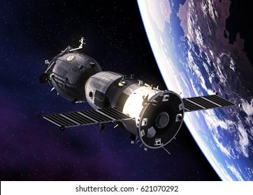Russian Spacecraft Orbiting Earth. 3D Illustration.