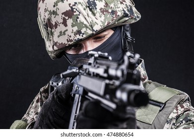 Russian special forces on black background