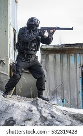 Russian special forces training at a military training ground. Fulfills military action against terrorism.