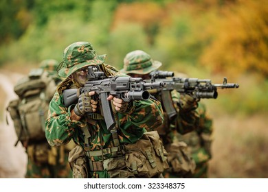 russian special squad engaged in the exploration of the forest