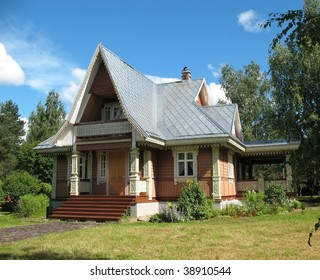 russian style wooden blockhouse on the blue sky background - Roof Finials