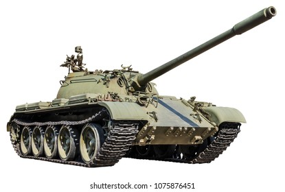 Russian t-55 tank isolated on white background