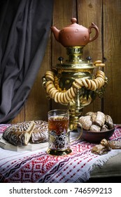 Russian tea ceremony with samovar and Cup holder