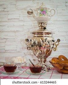 Russian tea from a samovar with bagels