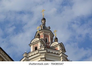 Russian traditional architecture christian orthodox church in the center of Moscow