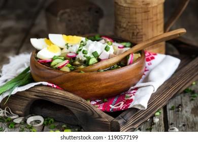 Russian traditional cold soup okroshka with potato, ham, cucmebers, eggs, radish, spring onion and kvass.