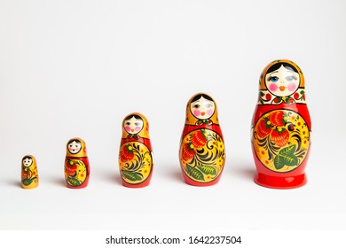 Russian traditional doll, Matryeshka isolated in white background
