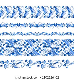 Russian traditional elements. Set of horizontal pattern in gzhel style. Gzhel russian pattern element, floral blue flower. illustration