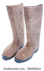russian traditional felt boots - valenki, isolate on white background