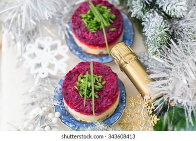 Russian traditional salad, dressed herring under fur coat