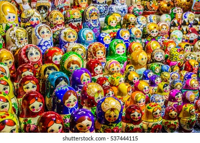 Russian traditional souvenir wooden doll in showcase
