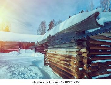 Russian Traditional wooden architecture  - granary, Malye Karely village, Arkhangelsk region, Russia