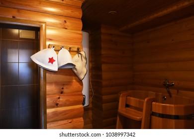 Russian traditional wooden bath - banya