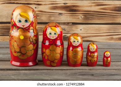 Russian traditional wooden dolls