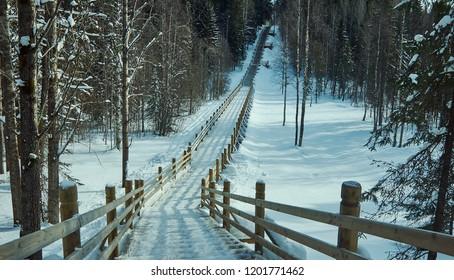 Russian Traditional wooden gangway , Malye Karely village, Arkhangelsk region, Russia