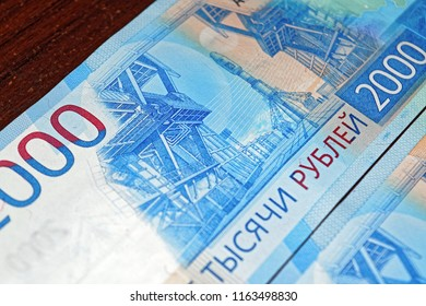 Russian two thousandth notes close-up