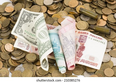 Russian, USA and Ukrainian paper money and coins.