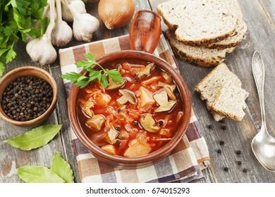Russian vegetarian beetroots soup with  mushrooms. Borsch