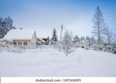 Russian village, middle snow winter - Shutterstock ID 1597634395