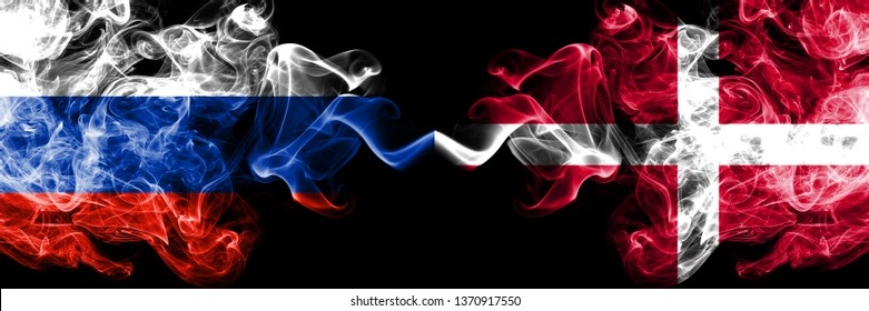 Russian vs Denmark, Danish smoke flags placed side by side. Thick colored silky smoke flags of Russia and Denmark, Danish