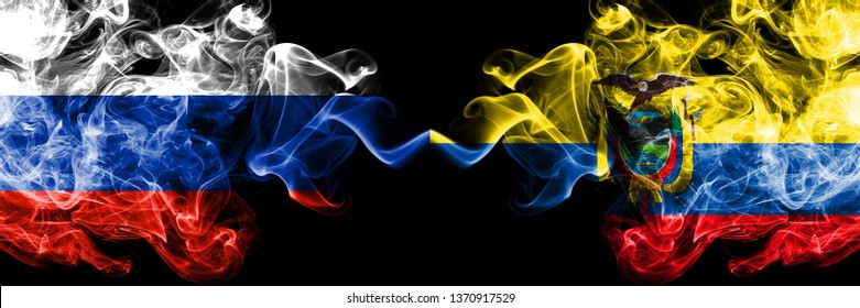 Russian vs Ecuador, Ecuadorian smoke flags placed side by side. Thick colored silky smoke flags of Russia and Ecuador, Ecuadorian