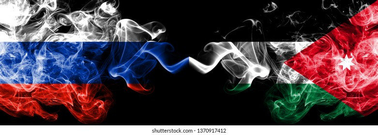 Russian vs Jordan, Jordanian smoke flags placed side by side. Thick colored silky smoke flags of Russia and Jordan, Jordanian