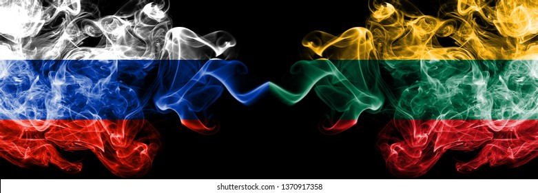 Russian vs Lithuania, Lithuanian smoke flags placed side by side. Thick colored silky smoke flags of Russia and Lithuania, Lithuanian