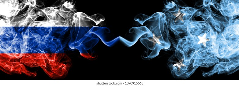 Russian vs Micronesia, Micronesian smoke flags placed side by side. Thick colored silky smoke flags of Russia and Micronesia, Micronesian