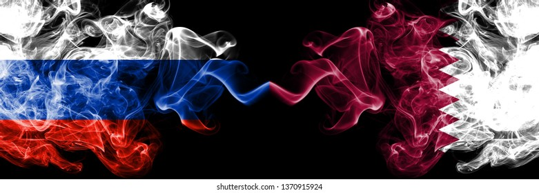 Russian vs Qatar, Qatari smoke flags placed side by side. Thick colored silky smoke flags of Russia and Qatar, Qatari