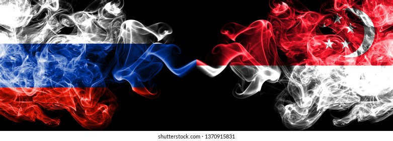 Russian vs Singapore, Singaporean smoke flags placed side by side. Thick colored silky smoke flags of Russia and Singapore, Singaporean