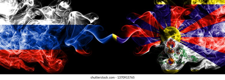 Russian vs Tibet, Tibetan smoke flags placed side by side. Thick colored silky smoke flags of Russia and Tibet, Tibetan