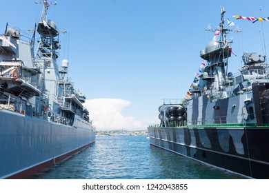 Russian warships: Samu missile ship, and a large landing ship Azov, at the pier in Sevastopol. Crimea