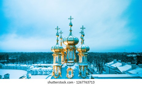 Russian winter church drone view