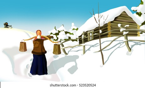 Russian Winter  in a Traditional Village.  A Woman with a Yoke.  Handmade illustration in a classic cartoon style.