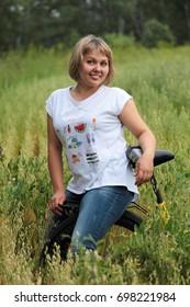 Russian woman in a wheat field.