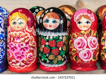 Russian wooden doll matryoshka on the counter of the gift shop. Matryoshka is a national Russian souvenir.