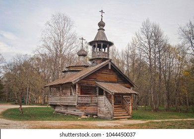 Russian wooden historical house in forest