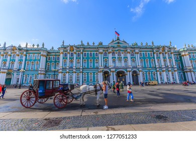 Russian-Jan 7 2019:Panorama Hermitage museum - Winter Palace building on Palace Square in St. Petersburg