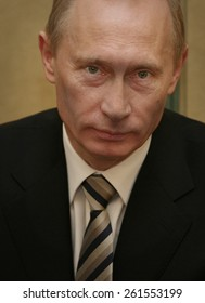 Russia's President Vladimir Putin looks on during a meeting at Bulgarian Presidency building in the Bulgarian capital Sofia, Friday, Jan. 18, 2008.