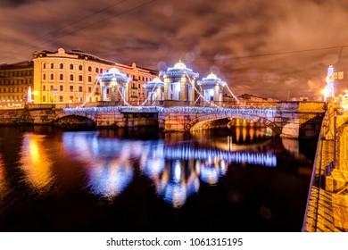 Russia,Saint-Petersburg,  30, December, 2017: View of the Lomonosov bridge, New Year's decoration