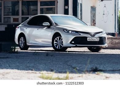 Russia-Samara, 28-06-2018 - Brand new white Toyota camry 2018 parked