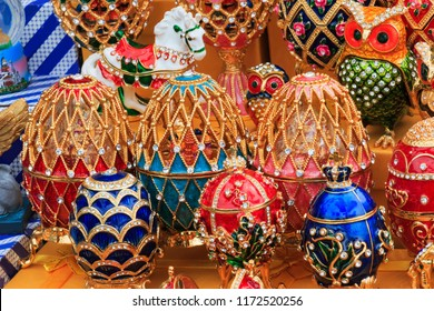 RUSSIA-SEP 5 2018:Gift shop. Faberge eggs for sale in Russia, Matryoshka dolls - traditional Russian souvenirs for foreign tourists